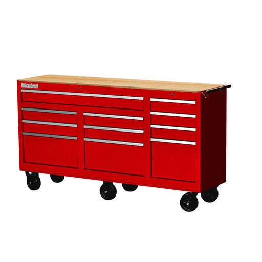 "View a Larger Image of Workshop Series 73"" 11-Drawer with Wood Top, Red"