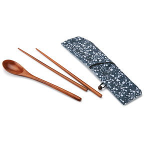 Ironwood Chopsticks and Spoon Laquered with Fabric Sleeve