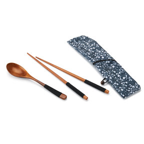 Ironwood Chopsticks and Spoon Laquered Wrapped with Black Cord with Fabric Sleeve