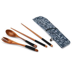 Ironwood Chopsticks,Spoon and Fork Laquered Wrapped with Black Cord with Fabric Sleeve