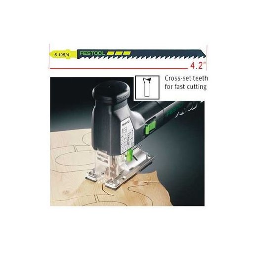 View a Larger Image of Festool S 105/4 Fast-Cutting Jigsaw Blades, 4 1/8 Inch, 6 TPI, 5-Pack