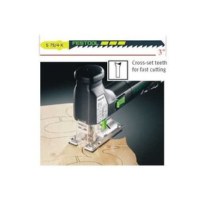 Festool S 75/4 Clean-Cut Jigsaw Blades, 3 Inch, 6 TPI, 25-Pack