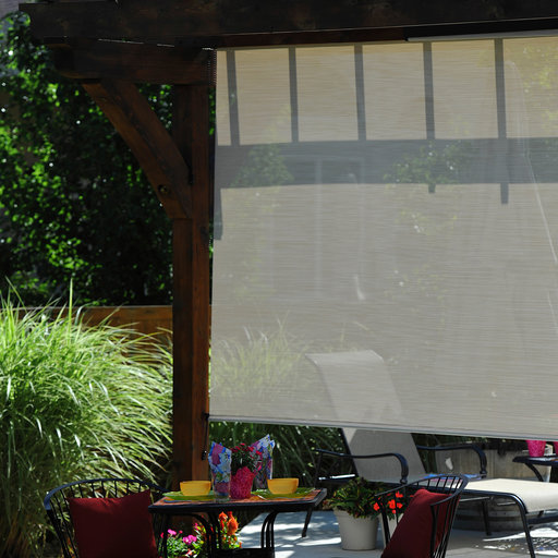 View a Larger Image of Valanced Sunshade, Elite Plus, Remote Control, 10' W x 8' Drop, Maui Fabric