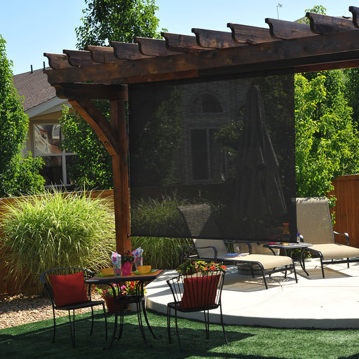 View a Larger Image of Valanced Sunshade, Elite Plus, Remote Control, 6' W x 8' Drop, Kona Fabric