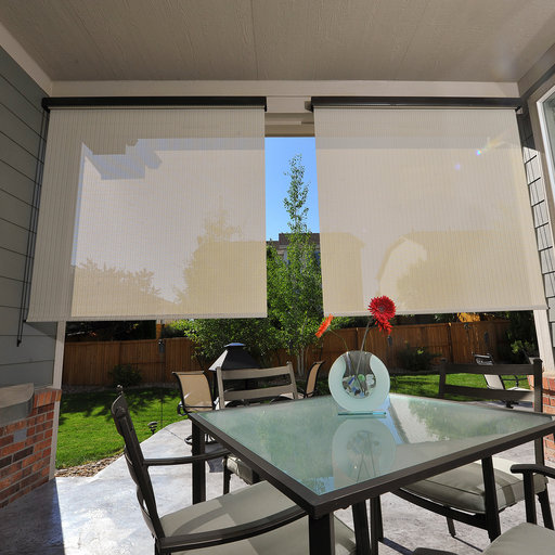 View a Larger Image of Valanced Sunshade, Titanium Series, 4' W x 8' Drop, Tropic Fabric