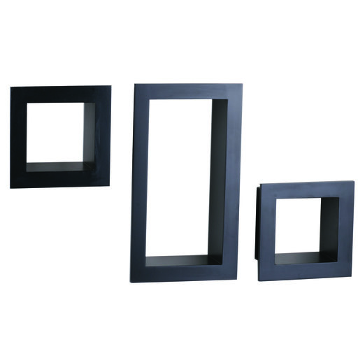 View a Larger Image of Knape & Vogt 3-Piece Frame Cube Shelf Set, Black Finish