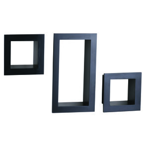 Knape & Vogt 3-Piece Frame Cube Shelf Set, Black Finish