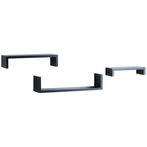 "View a Larger Image of Knape & Vogt 3-Piece Ledge Set, 4"" Deep, Black Finish"
