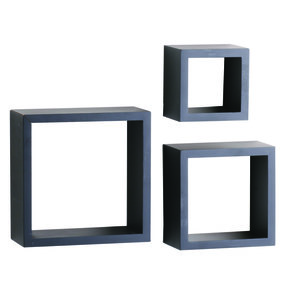 "Knape & Vogt 3-Piece Shadow Box Set, 4"" Deep, Black Finish"