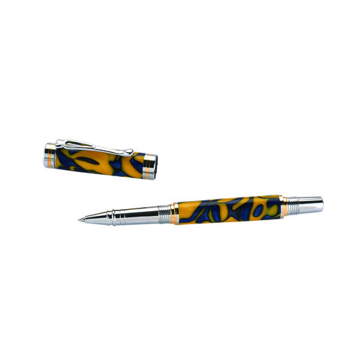 View a Larger Image of Kojent Rollerball Pen Kit Cobalt Gold & Chrome