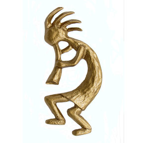 Kokopelli Left Facing Knob, Lux Gold