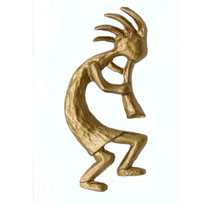 Kokopelli Right Facing Knob, Lux Gold