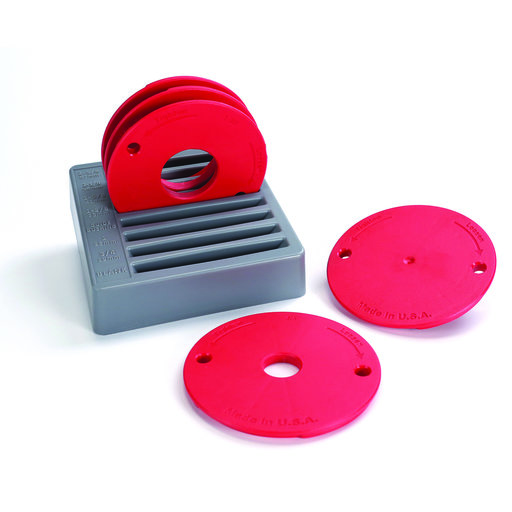 View a Larger Image of 5-Piece Level-Loc Router Table Insert Ring Set, # PRS3050