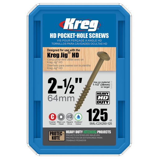 View a Larger Image of HD Pocket Hole Screw, #14 x 2-1/2 inch, Coarse, Washer-Head, 125 count, # SML-C2X250-125