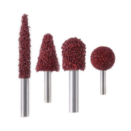 View a Larger Image of Red Extra Coarse Grit Carving Burr Shank, 4 piece