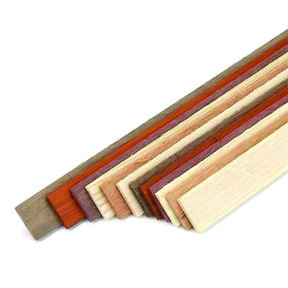 "Assorted Species 1/8"" x 7/8"" x 24"" Wood Laminating Strips 12pc"