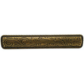 Large Engraved Flower Pull, Brass Oxide