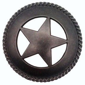 Large Star with Rope Pull, Pewter Oxide