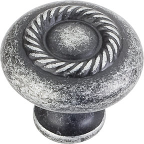 "Lenoir Knob, 1-1/4"" Dia.,  Distressed Antique Silver"