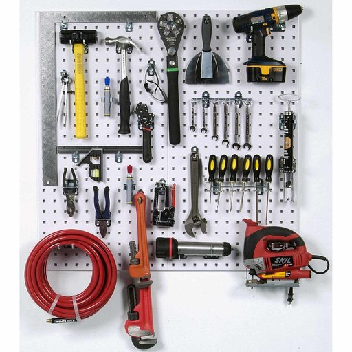 View a Larger Image of LocBoard Wall System Square Hole Pegboard and Locking Hook Organizer