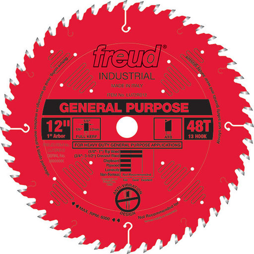 """View a Larger Image of LU72R012 General Purpose Saw Blade 12"""" x 1"""" bore x 48 Tooth Hi-ATB"""