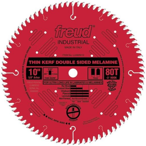 "View a Larger Image of LU96R010 Red Circular Saw Blade 10"" x 5/8"" Bore x 80 Tooth TCG Thin Kerf"