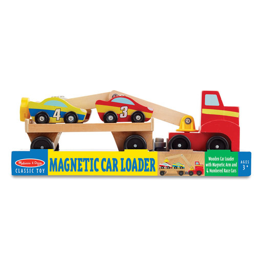 "View a Larger Image of Magnetic Car Loader Wooden Toy Set, Cars & Trucks, Helps Develop Motor Skills, 4 Cars and 1 Semi-Trailer Truck, 5.75"" H"