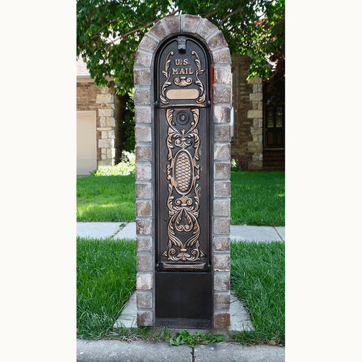 View a Larger Image of MailKeeper Locking Mailbox with Classic Design Front - Gold