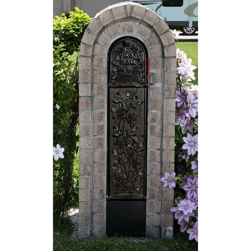 View a Larger Image of MailKeeper Locking Mailbox with Morning Rose Design Front and Front / Rear Mail Retrieval Door - Black