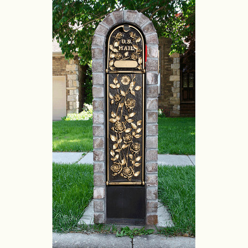 View a Larger Image of MailKeeper Locking Mailbox with Morning Rose Design Front and Front / Rear Mail Retrieval Door - Gold
