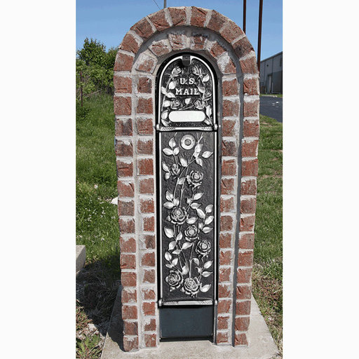 View a Larger Image of MailKeeper Locking Mailbox with Morning Rose Design Front and Front / Rear Mail Retrieval Door - Silver