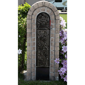 MailKeeper Locking Mailbox with Morning Rose Design Front - Black