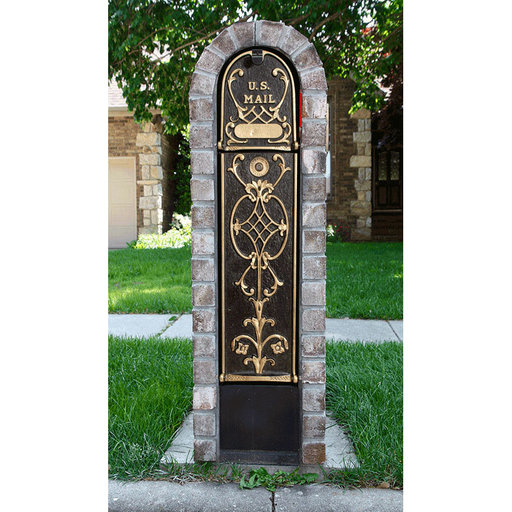 View a Larger Image of MailKeeper Locking Mailbox with Old English Design Front and Front / Rear Mail Retrieval Door - Gold