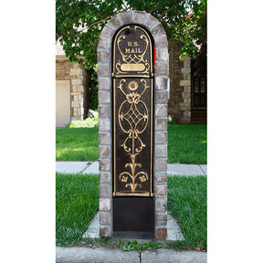 MailKeeper Locking Mailbox with Old English Design Front and Front / Rear Mail Retrieval Door - Gold