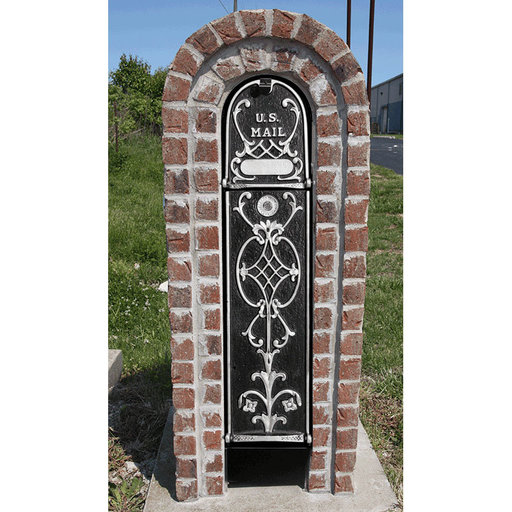 View a Larger Image of MailKeeper Locking Mailbox with Old English Design Front and Front / Rear Mail Retrieval Door - Silver