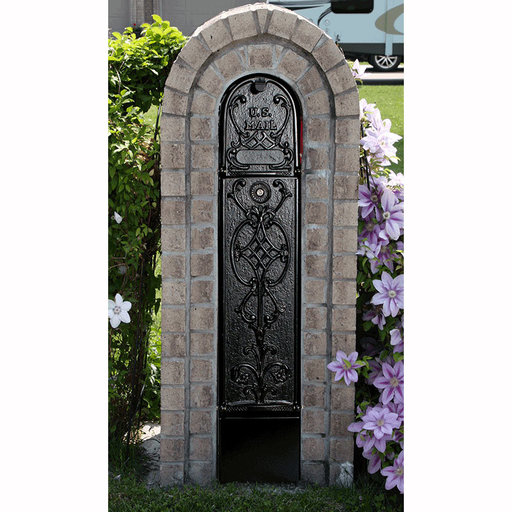 View a Larger Image of MailKeeper Locking Mailbox with Old English Design Front - Black