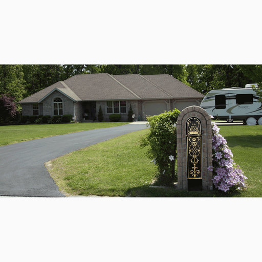 View a Larger Image of MailKeeper Locking Mailbox with Running Oak Design Front and Front / Rear Mail Retrieval Door - Gold