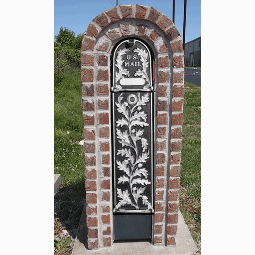 View a Larger Image of MailKeeper Locking Mailbox with Running Oak Design Front and Front / Rear Mail Retrieval Door - Silver