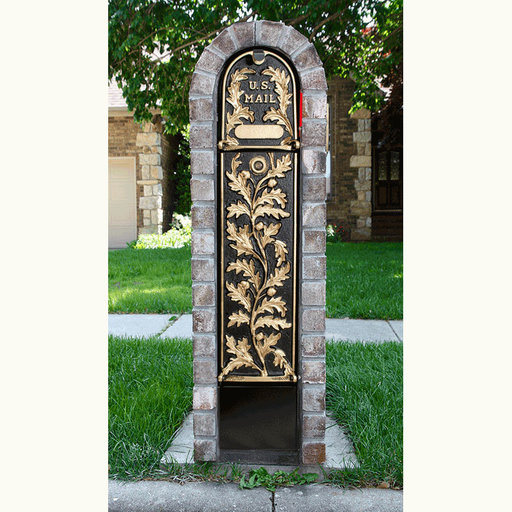 View a Larger Image of MailKeeper Locking Mailbox with Running Oak Design Front - Gold
