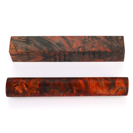 View a Larger Image of Maple Burl Stabilized Double Dyed Pen Blank Orange/Black 1-piece