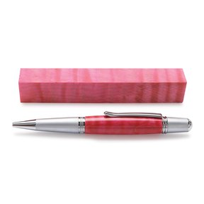 "Maple, Curly 3/4"" x 3/4"" x 5"" Dyed & Stabilized Wood Pen Blank Pink"
