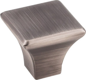 "Marlo Knob, 1-1/8"" O.L.,  Brushed Pewter"