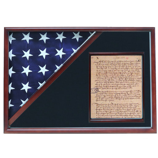 View a Larger Image of Memorial Flag and Doc Case, Cherry, Air Force Blue background