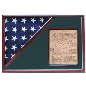 Memorial Flag and Doc Case, Cherry, Army Green background