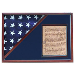 Memorial Flag and Doc Case, Cherry, Blue Velvet background
