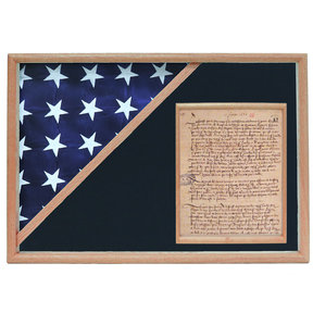 Memorial Flag and Doc Case, Oak, Air Force Blue background