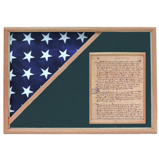 View a Larger Image of Memorial Flag and Doc Case, Oak, Army Green background