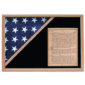 Memorial Flag and Doc Case, Oak, Black Velvet background