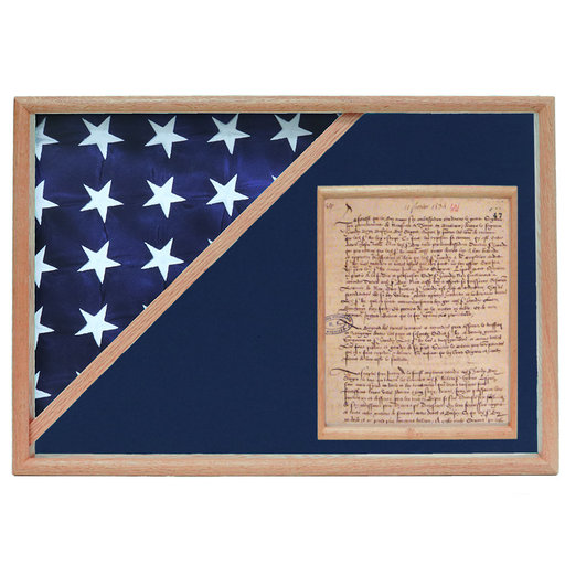 View a Larger Image of Memorial Flag and Doc Case, Oak, Blue Velvet background