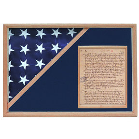 Memorial Flag and Doc Case, Oak, Blue Velvet background